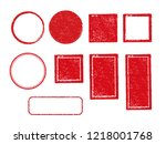rubber stamp frame set  square  ... | Shutterstock .eps vector #1218001768
