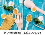 fresh eggs in a blue pan. fresh ... | Shutterstock . vector #1218004795