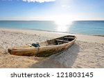 Wooden Fishing Boat On A Beach...