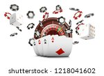 playing cards and poker chips... | Shutterstock .eps vector #1218041602