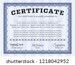 blue certificate of achievement ... | Shutterstock .eps vector #1218042952