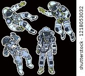 color set of space astronauts....   Shutterstock .eps vector #1218053032