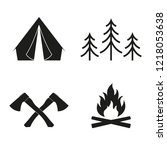 camp icon set. camping sign... | Shutterstock .eps vector #1218053638