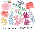 hand painted floral pastel... | Shutterstock . vector #1218092125