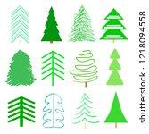 Green Christmas Trees On White. ...