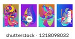 vector abstract 3d colorful... | Shutterstock .eps vector #1218098032