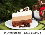 three chocolate mousse cake... | Shutterstock . vector #1218123475