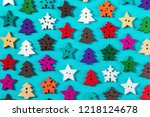 wooden buttons made of wood for ... | Shutterstock . vector #1218124678