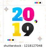 vector vintage poster with 2018 ... | Shutterstock .eps vector #1218127048