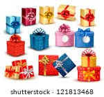 set of colorful gift boxes with ...