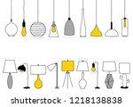 vector lamps. outline... | Shutterstock .eps vector #1218138838