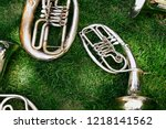 set of old musical instruments. ... | Shutterstock . vector #1218141562