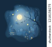 vector winter night scene with... | Shutterstock .eps vector #1218158275