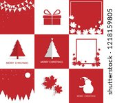 merry christmas greeting card... | Shutterstock .eps vector #1218159805