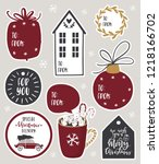 christmas gift tags  stickers ... | Shutterstock .eps vector #1218166702