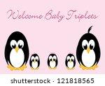 welcome baby penguins   triples ... | Shutterstock . vector #121818565