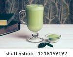 vegan coconut matcha latte.... | Shutterstock . vector #1218199192