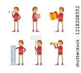 vector young adult man in... | Shutterstock .eps vector #1218208552