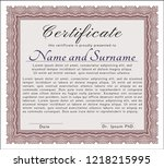 red sample certificate. with... | Shutterstock .eps vector #1218215995