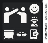 set of 6 happy filled icons... | Shutterstock .eps vector #1218220138