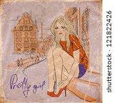 beautiful girl on the street.... | Shutterstock .eps vector #121822426
