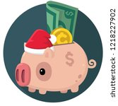 vector new year icon piggy bank.... | Shutterstock .eps vector #1218227902