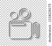 simple video camera icon. white ...