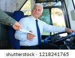professional driver taking... | Shutterstock . vector #1218241765