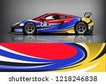 car decal wrap design vector.... | Shutterstock .eps vector #1218246838
