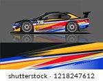 car decal wrap design vector.... | Shutterstock .eps vector #1218247612