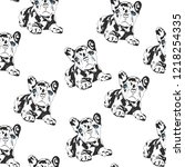 bulldog seamless pattern.... | Shutterstock .eps vector #1218254335
