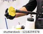 car polish wax worker hands... | Shutterstock . vector #1218259378