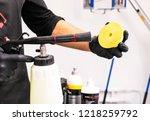 car polish wax worker hands... | Shutterstock . vector #1218259792