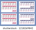 set horizontal pocket calendars ... | Shutterstock .eps vector #1218269842