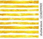hand drawn golden paint stripes ... | Shutterstock . vector #1218299905