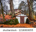 autumn forest house scene.... | Shutterstock . vector #1218303055