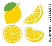 fresh lemon fruits  flat vector ...   Shutterstock .eps vector #1218332875