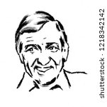 a portrait of a french actor... | Shutterstock . vector #1218342142