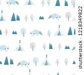 minimalistic seamless pattern. | Shutterstock .eps vector #1218349822