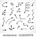 hand drawn arrows  vector set | Shutterstock .eps vector #1218350578
