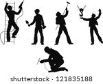 silhouettes worker to building... | Shutterstock . vector #121835188