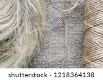 flax fibers for the production... | Shutterstock . vector #1218364138