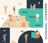 beach holiday   flat design...   Shutterstock . vector #1218369898