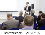meeting in a conference hall. | Shutterstock . vector #121837102