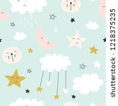 seamless cute pattern for kids  ... | Shutterstock .eps vector #1218375235