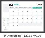 2019 calendar planner corporate ... | Shutterstock .eps vector #1218379108