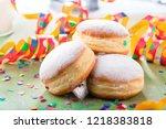 german donuts   krapfen or...   Shutterstock . vector #1218383818