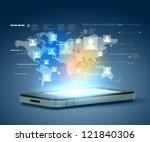 modern communication technology ... | Shutterstock . vector #121840306