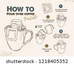 how to pour over coffee... | Shutterstock .eps vector #1218405352