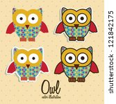 Illustration Of Colorful Owls...